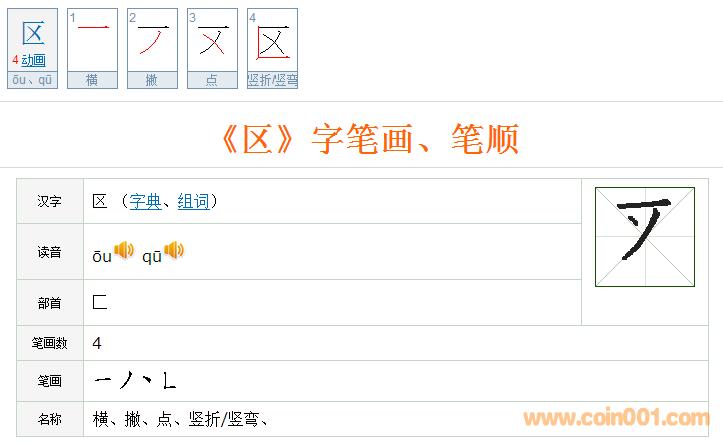 """笔画书写顺序清晰可辨.经查阅有关""""区""""字现代汉字正确书写笔顺."""